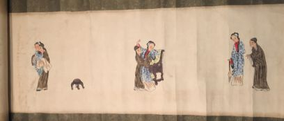 CHINESE SCHOOL (19th/20th century) Erotic Scenes Watercolour scroll painting Signed and with red
