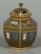 A fine quality cloisonne decorated gilt bronze censor Of hexagonal form, with pierced removable lid,