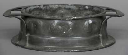 A Tudric hand-wrought pewter for Liberty & Co. twin handled oval jardiniere, model no. 0191 33.