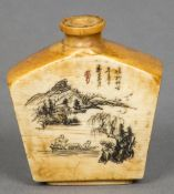 A Chinese ivory snuff bottle Of canted slab form,