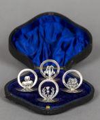 An Edward VIII cased set of four silver menu holders, hallmarked Birmingham 1939,