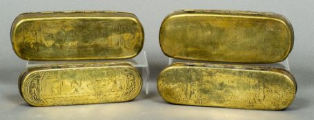 Four 18th/19th century Dutch brass and copper tobacco boxes Each of rounded rectangular form,