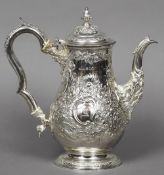 A silver coffee pot, hallmarked London 1824, maker's mark of George King Of baluster form,