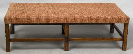 A large upholstered oak framed stool - WITHDRAWN CONDITION REPORTS: Generally in