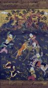 INDO-PERSIAN SCHOOL (18th/19th century) Hunting Scene Gouache highlighted with gilt within