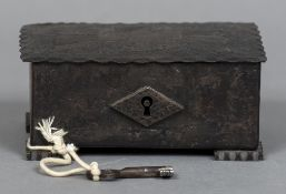 A Continental metal strong box The hinged cover worked with an eagle. 15.5 cm wide.