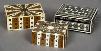 An Anglo-Indian ivory Vizagapatam box Typically decorated with geometric motifs;