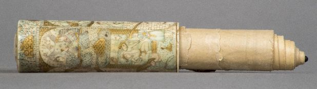 A 19th century Persian etched and gilt decorated bone scroll case Housing a small rolled scroll,
