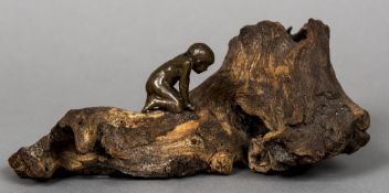 A patinated bronze figure of a young boy Modelled crouching on a root. 28 cm wide.