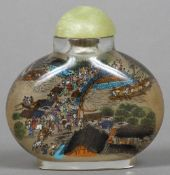 A Chinese inside painted glass snuff bottle and stopper Extensively worked with figures in an urban