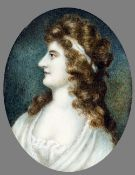 ENGLISH SCHOOL (18th century) Profile Portrait Miniature of a Classical Lady Watercolour on ivory 5