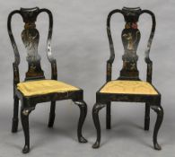 A pair of chinoiserie lacquer decorated George I chairs Each serpentine top rail above the curved