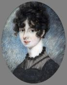 ENGLISH SCHOOL (early 19th century) Portrait Miniature of a Young Lady Watercolour on ivory 4.5 x 5.