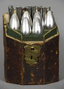 An 18th/19th century leather bound knife box The hinged lid with brass handle and lock plate,