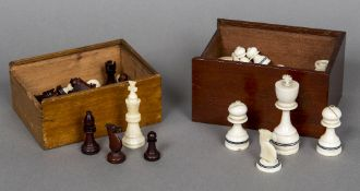 A late 19th century ivory chess set Both sides unstained,