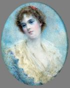 ALYN WILLIAMS (1865-1955) British Portrait of a Young Lady Watercolour on ivory Signed 5.