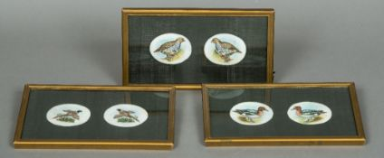 INDIAN SCHOOL (early 20th century) Three Pairs of Bird Studies Watercolours on ivory The miniatures