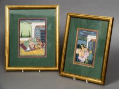 Two 19th century Indian erotic watercolours Each showing a couple in an intimate embrace,