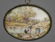 An early 20th century miniature on ivory Depicting African washer women, signed Diana Mallek Veale,