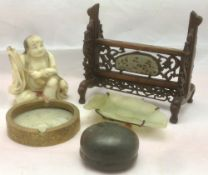Five Chinese collectors' items Comprising: a carved hardstone figure,