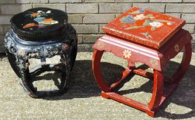 Two early 20th century Chinese lacquered urn stands One on pierced circular shaped section,