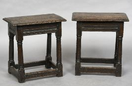 A pair of late 17th/early 18th century oak joint stools Each moulded rectangular top above a