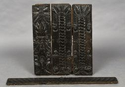 Three 16th century carved oak panels Each of rectangular form;