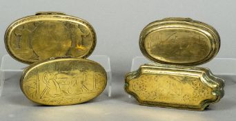 An 18th/19th century Dutch brass and copper tobacco box Of shaped rectangular form;