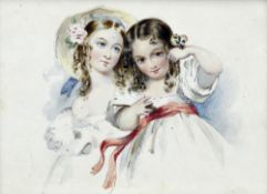 ENGLISH SCHOOL (19th century) Portrait Miniature of Two Young Girls,