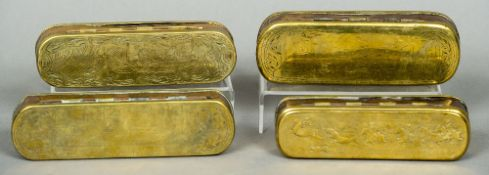 Four 18th/19th century Dutch brass and copper tobacco boxes Each of typical rounded rectangular