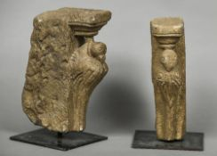 Two antique Indian carved stone corbels Worked as birds, mounted. The larger 30 cm high overall.