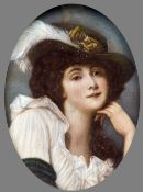 ENGLISH SCHOOL (19th century) Portrait Miniature of a Lady with a Feather in Her Hat Watercolour on