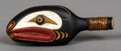 A carved wooden tribal rattle, possibly Haida Indian people Formed as a serpent's head. 16.