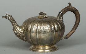A George III silver bullet teapot, hallmarked London 1819,