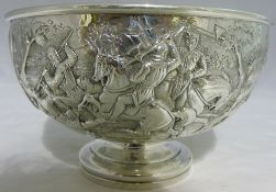An early Victorian embossed silver rose bowl, hallmarked London 1838,