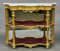 A 19th century marble topped giltwood pier table The shaped white variegated marble top above the