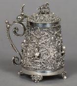 A 19th century Austrian silver lidded tankard,