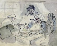 Attributed to THOMAS ROWLANDSON (1756-1827) British The Glutton Ink and wash Signed and dated 1821,