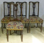 A set of four Art Nouveau chairs and four others