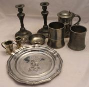 A quantity of pewter
