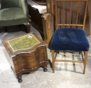 A mahogany leather inset step commode and an Edwardian chair