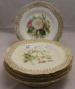 A Victorian florally painted part dessert service