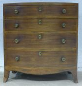 A small 19th century bow front chest of drawers