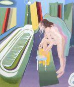 *AR DERMOT HOLLAND (20th century) Irish Bath Time Oil on canvas Signed to verso 81.5 x 101.