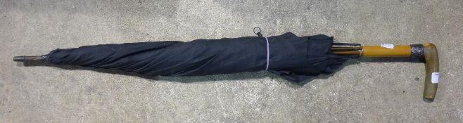 A horn handled umbrella,