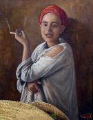 G T OFF H ZARB (19th century) Orientalist School Portrait of a North African Boy Smoking Oil on