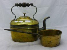 A brass kettle and a brass pan