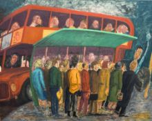 *AR DERMOT HOLLAND (20th century) Irish Bus Stop Queue Oil on canvas Signed to verso 101 x 82 cm,