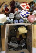 Two boxes of decorative ceramics, glass,