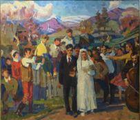 RUSSIAN SCHOOL (20th century) Cossack Wedding, oil on board.